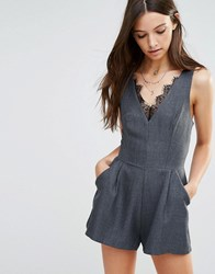 Love Playsuit With Lace In Herringbone Grey
