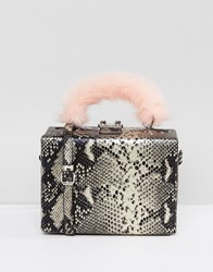 Asos Hero Fur Handle Metallic Snake Box Bag With Detachable Strap Brown