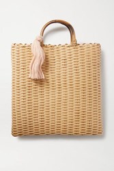 Nannacay Net Sustain Carolyn Tasseled Woven Tote Neutral