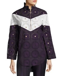 Nina Ricci Chevron Eyelet Half Zip Tunic Purple