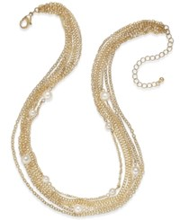 Charter Club Gold Tone Imitation Pearl And Multi Chain Statement Necklace Only At Macy's