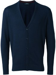 Joseph Elbow Patch Cardigan Blue