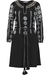 Chelsea Flower Embroidered Cotton Dress Black