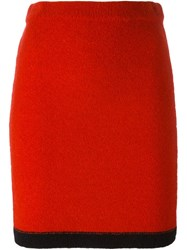 Boutique Moschino Knitted Pencil Skirt Red
