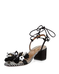 Aquazzura Tropicana Beaded 50Mm Sandal Black Pattern
