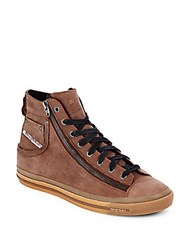 Diesel Magnete Expo Side Zipper Leather Sneakers Brown