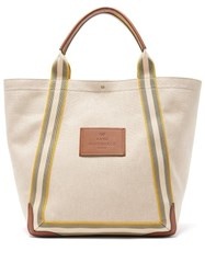 Anya Hindmarch Pont Leather Trimmed Canvas Tote Bag Beige Multi