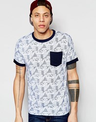 D Struct Geo Print Pocket T Shirt White Navy