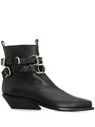 Ann Demeulemeester Buckled Ankle Boots Black