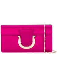 Salvatore Ferragamo Sangria Clutch Women Leather Satin Ribbon One Size Pink Purple