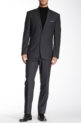 Vince Camuto Charcoal Solid Two Button Notch Lapel Wool Suit