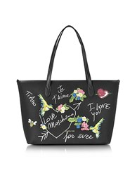 Love Moschino Black Canvas And Eco Leather Tote W Embroidery I You