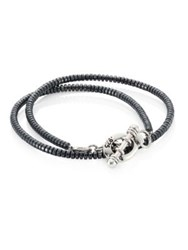 King Baby Studio Hematite And 0.925 Sterling Silver Double Wrap Seed Bead Bracelet