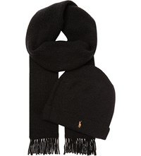 Ralph Lauren Merino Wool Scarf And Hat Set Polo Black