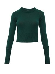 Prada Cropped Cashmere Sweater Dark Green