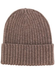 Dell'oglio Ribbed Knit Beanie Brown