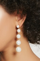 Forever 21 Faux Pearl Drop Earrings Cream Gold