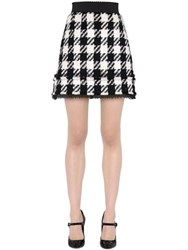 Dolce And Gabbana High Waisted Check Wool Blend Mini Skirt