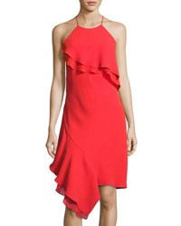 Laundry By Shelli Segal Ruffled Trim Cocktail Dress Red