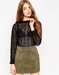 Asos Long Sleeve All Over Lace High Neck Top Black