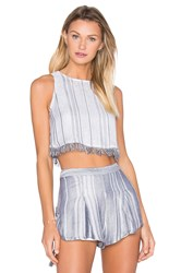 The Jetset Diaries Las Rayas Crop Top Gray