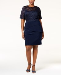 Betsy And Adam Plus Size Lace Pleated Dress Navy