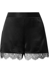 Cami Nyc The Liliana Lace Trimmed Silk Charmeuse Shorts Black
