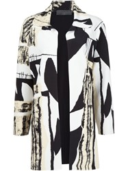 Norma Kamali Abstract Print Coat Black