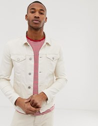 Selected Homme Denim Jacket In Ecru Twill White