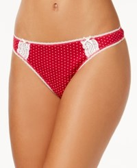 Charter Club Pointelle Cotton Thong Red Pindot