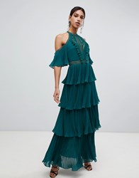 True Decadence Cold Shoulder Tiered Maxi Dress With Tassel Detail In Forest Green Forest Green