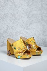 Forever 21 Floral Embroidered Satin Mules Yellow