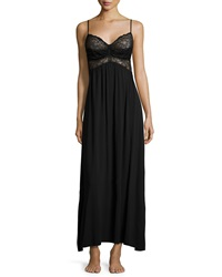 Donna Karan Sleeveless Lace Bodice Nightgown Black