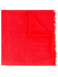 Rick Owens Frayed Scarf Red