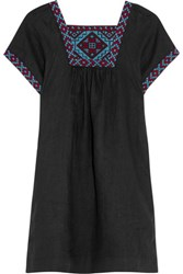 Madewell Embroidered Linen Mini Dress Black