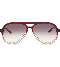 Kris Van Assche Kva78 Straight Brow Aviator Sunglasses Burgundy And Bronze