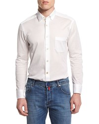 Kiton Long Sleeve Pique Sport Shirt White Men's