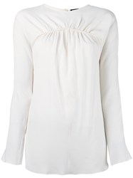 Jil Sander Navy Gathered Detail Blouse Nude Neutrals