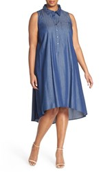 Plus Size Women's London Times Denim Chambray A Line High Low Shift Dress