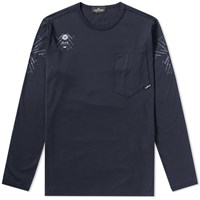Stone Island Shadow Project Long Sleeve Garment Dyed Graphic Tee Blue
