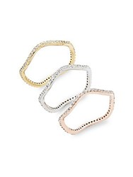 Saks Fifth Avenue Studded Stackable Rings Tritone Gold