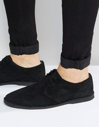 Asos Derby Shoes In Black Suede With Piped Edging Black