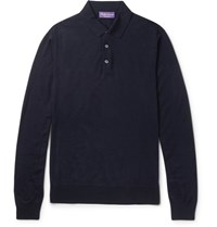 Ralph Lauren Purple Label Knitted Merino Wool Polo Shirt Midnight Blue