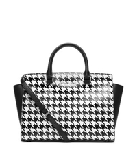 Michael Kors Selma Houndstooth Saffiano Leather Large Satchel Black White