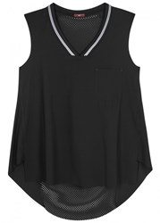 High At One Mesh And Jersey Tank Black
