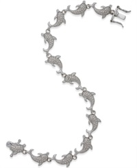 Macy's Diamond Accent Dolphin Bracelet In Sterling Silver