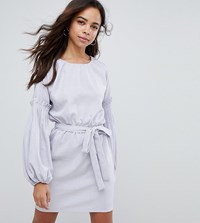 Lost Ink Petite Tie Waist Dress With Extreme Sleeve Light Grey