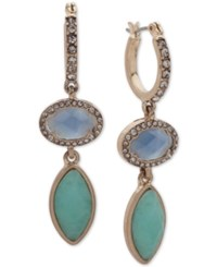 Lonna And Lilly Gold Tone Pave Colored Stone Double Drop Hoop Earrings Blue Green