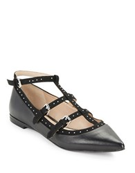 French Connection Mixed Texture Point Toe Flats Black