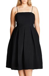 City Chic Plus Size Women's Textured Treat Fit And Flare Dress